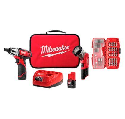 Kit-Parafusadeira-14-Pol-Kit-Bits-40-pecas-Lanterna-LED-M12-Milwaukee-2482-259-ANT-Ferramentas