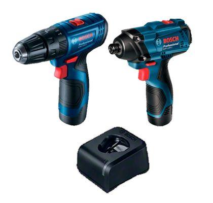 Kit-Parafusadeira--Furadeira-e-Chave-de-Impacto-a-Bateria-GSB-120-LI---GDR-120-LI-Bosch-06019G81E3-000-ANT-Ferramentas